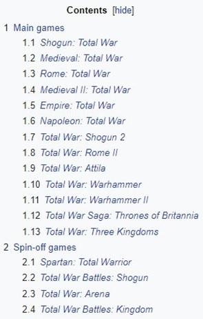 Total war list