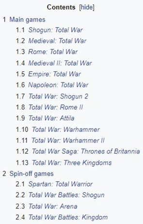 Total war list